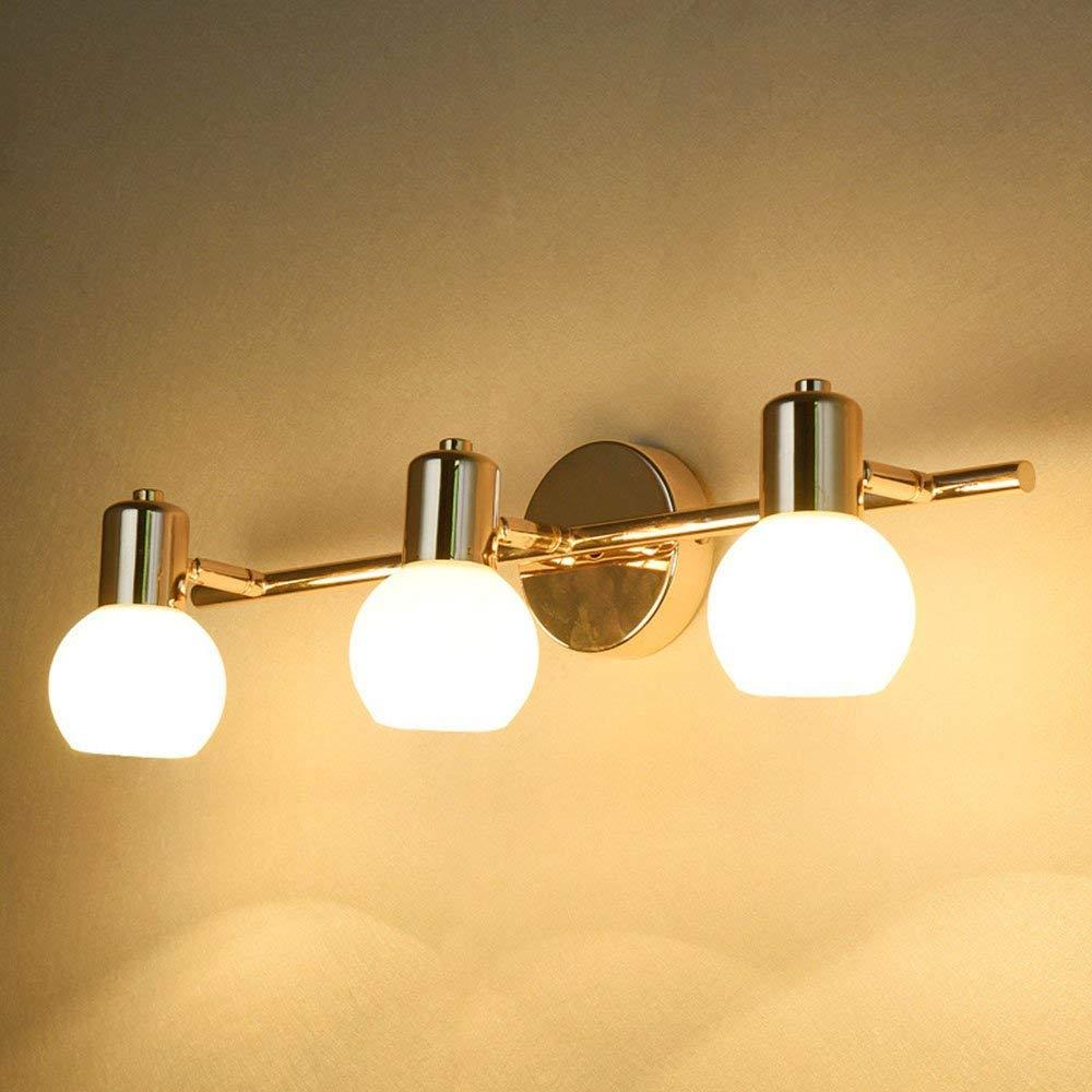 HSY Spiegelleuchte, moderne minimalistische Goldene Messing Nachttischlampe, 3 Lampenfassungen
