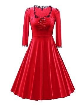 LaoZan Vestido para Mujer Terciopelo Elegante Vintage Vestido de Swing Vestidos de Cóctel Vestido Largo plisado