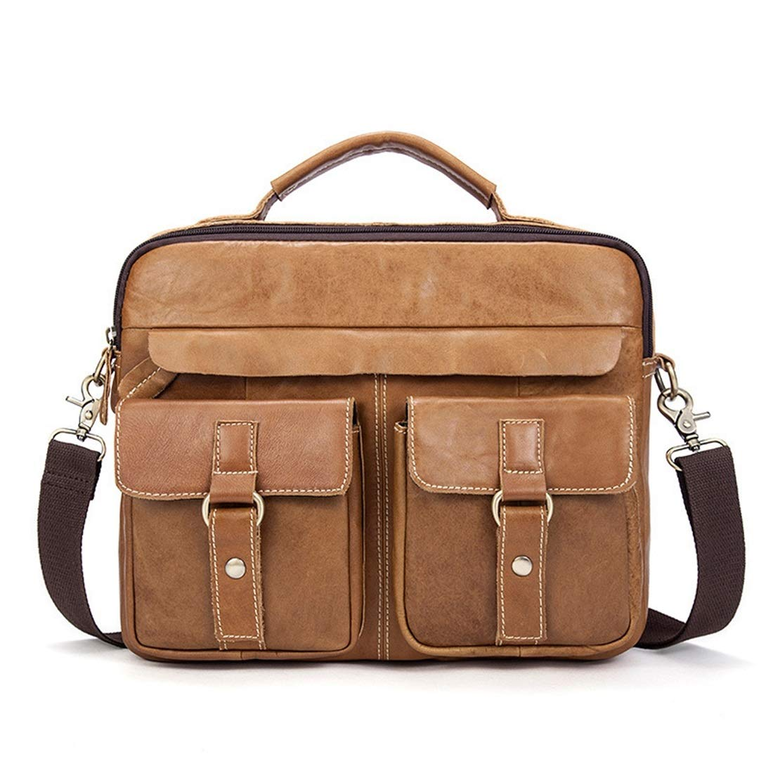 RABILTY Mens Messenger Shoulder Bag Vintage Leather Briefcase Crossbody Day Bag for School and Work Color : Red Coffee Color