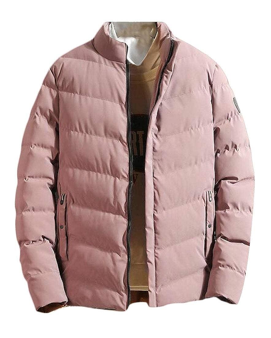 WSPLYSPJY Mens Solid Warm Slim Zipper Thicken Quilted Jacket Coat Outwear