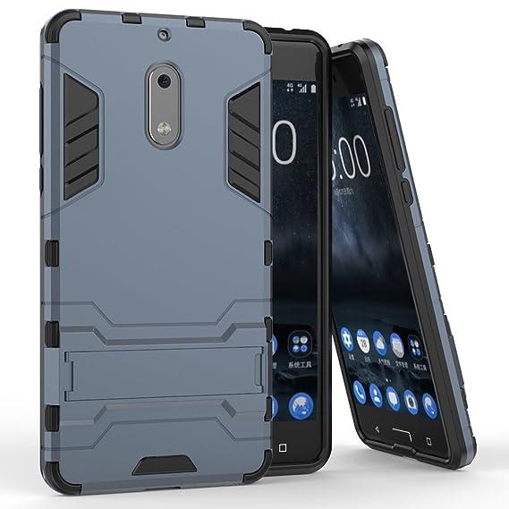 finest selection 35bf4 5a315 Nokia 6 Case, MicroP Dual Layer Armor Hard Slim Hybrid Kickstand Phone  Cover Case for Nokia 6 (Navy blue Kickstand Case)