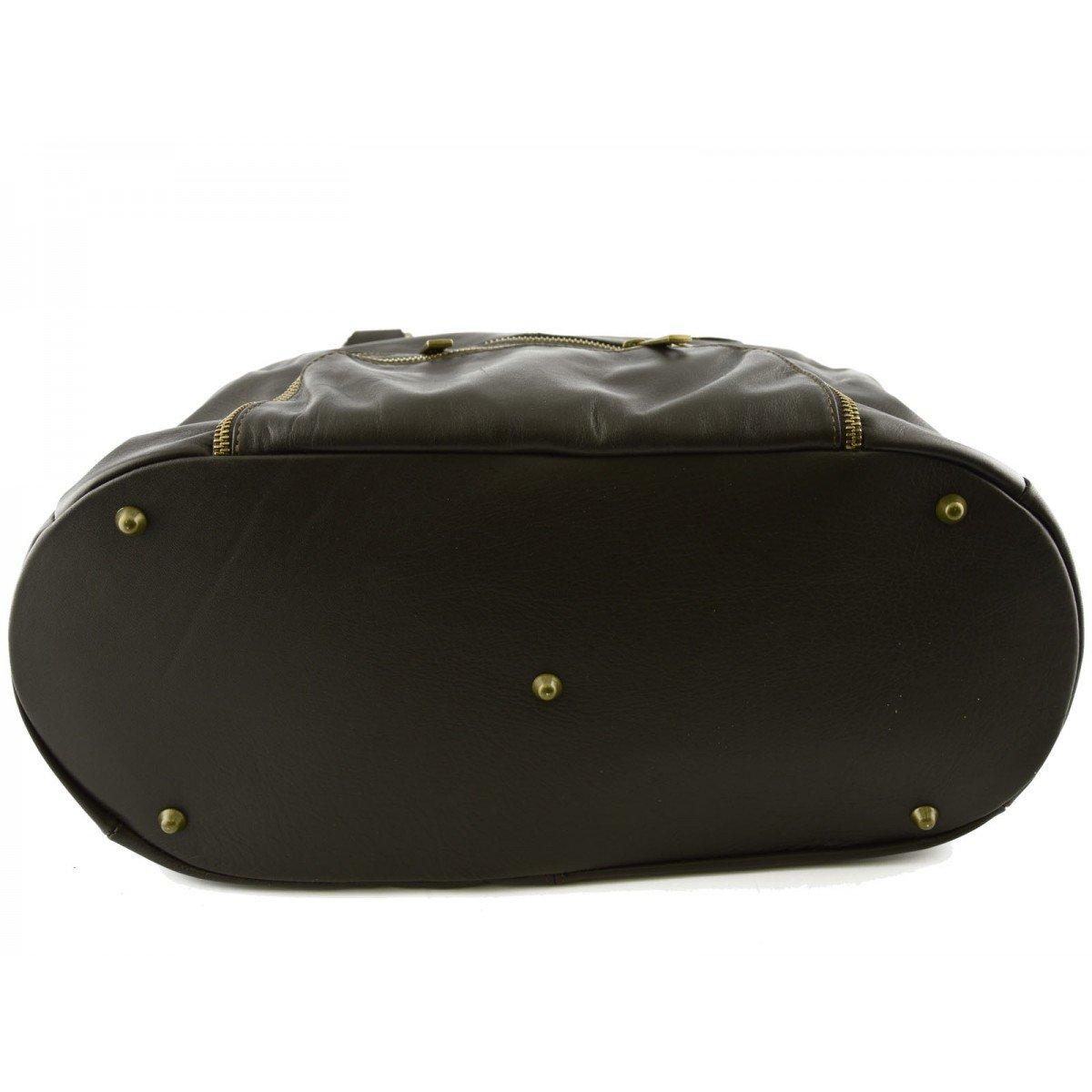 Genuine Leather Woman Handbag Color Dark Brown