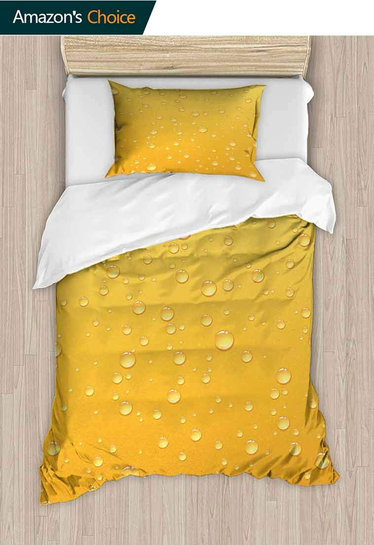 Yellow Diy Duvet Cover and Pillowcase Set, Yellow Ombre Background Like Beer in a Glass with Water Drops Graphic Artwork Prints, Cool 3D Outer Space Bedding Digital Print - 2 Piece, 47 W x 59 L Inches by carmaxshome