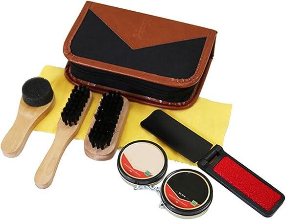 Kit de Brillo de Zapatos con Estuche Elegante Elegante de Cuero de la PU, Kit de