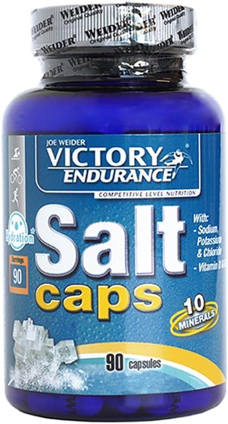 Victory Endurance Salt Caps. 90 capsulas. Con un aporte extra de vitaminas D y B1. Con sodio, potasio, Cloro, Calcio, Hierro, Magnesio, Yodo, Cobre, Manganeso, Selenio.