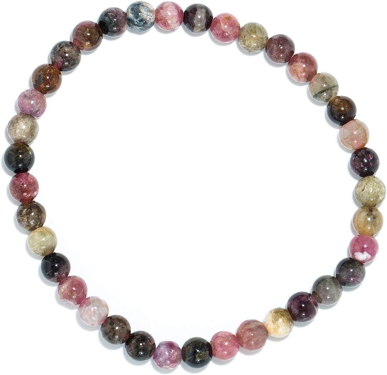Taddart Minerals – Pulsera colorida de la piedra preciosa natural sandía turmalina con bolas de 4 mm sobre hilo de nailon elástico – hecha a mano