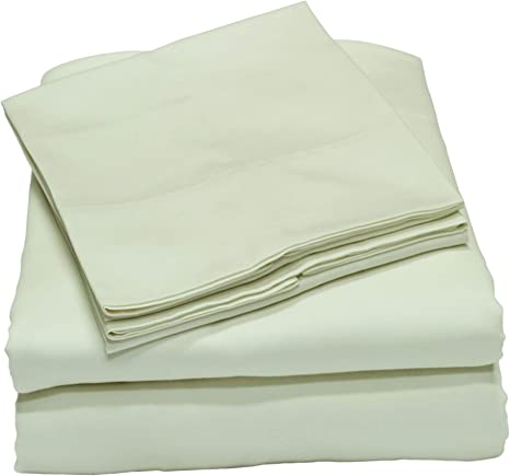 Amazon Com Callista 100 Cotton Sateen Sheet Set 600 Thread Count Queen Size Wrinkle Free Fade Stain Resistant 4 Piece Set 1 Flat Sheet 1 Fitted Sheet And 2 Pillowcase Ivory Kitchen Dining