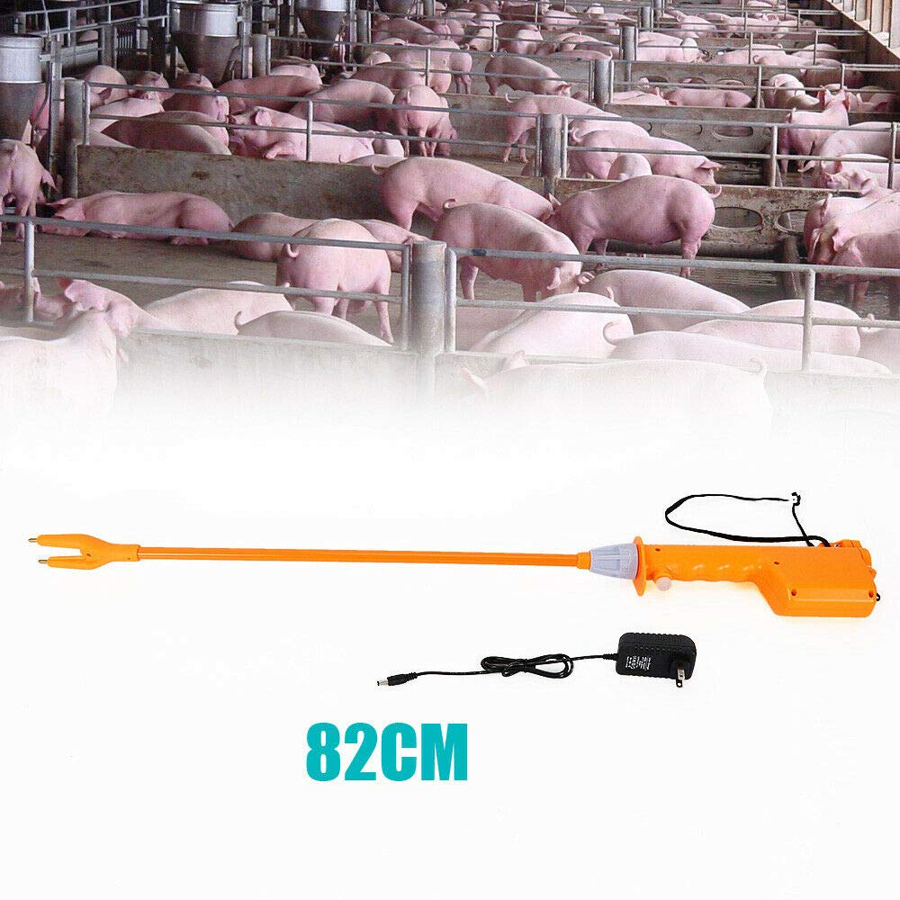Animal Electric Prod Hot Shock, 82CM 8000V Electric Rechargeable Hand Prod Shock Animals Livestock Farm Pig Cattle Prod Safety Shock Prodder with Battery (USA Stock) (82CM) by SHZICMY