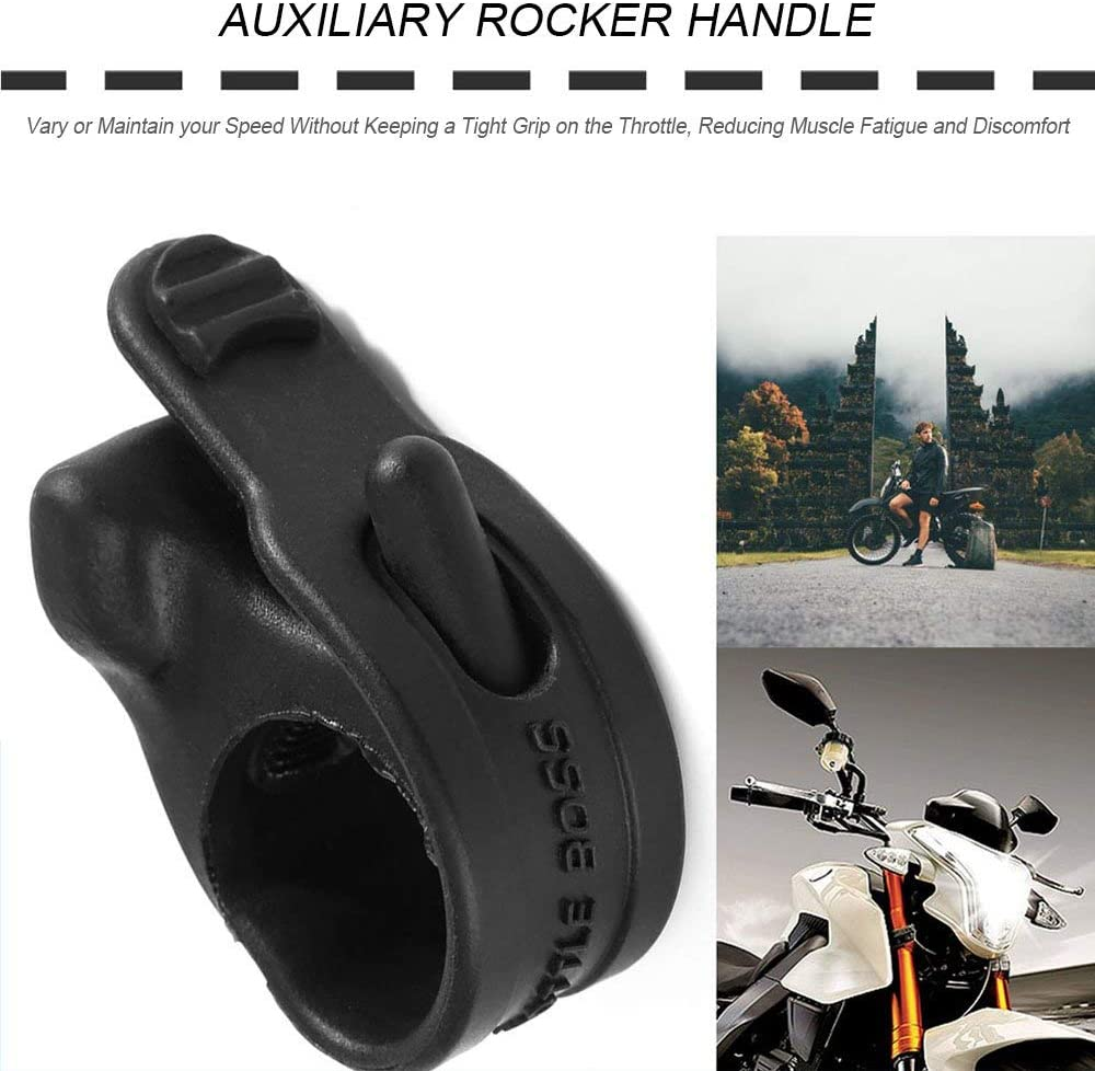 Acelerador de goma antideslizante Boss Moto Control de crucero Asistente Rocker Handgrip Negro