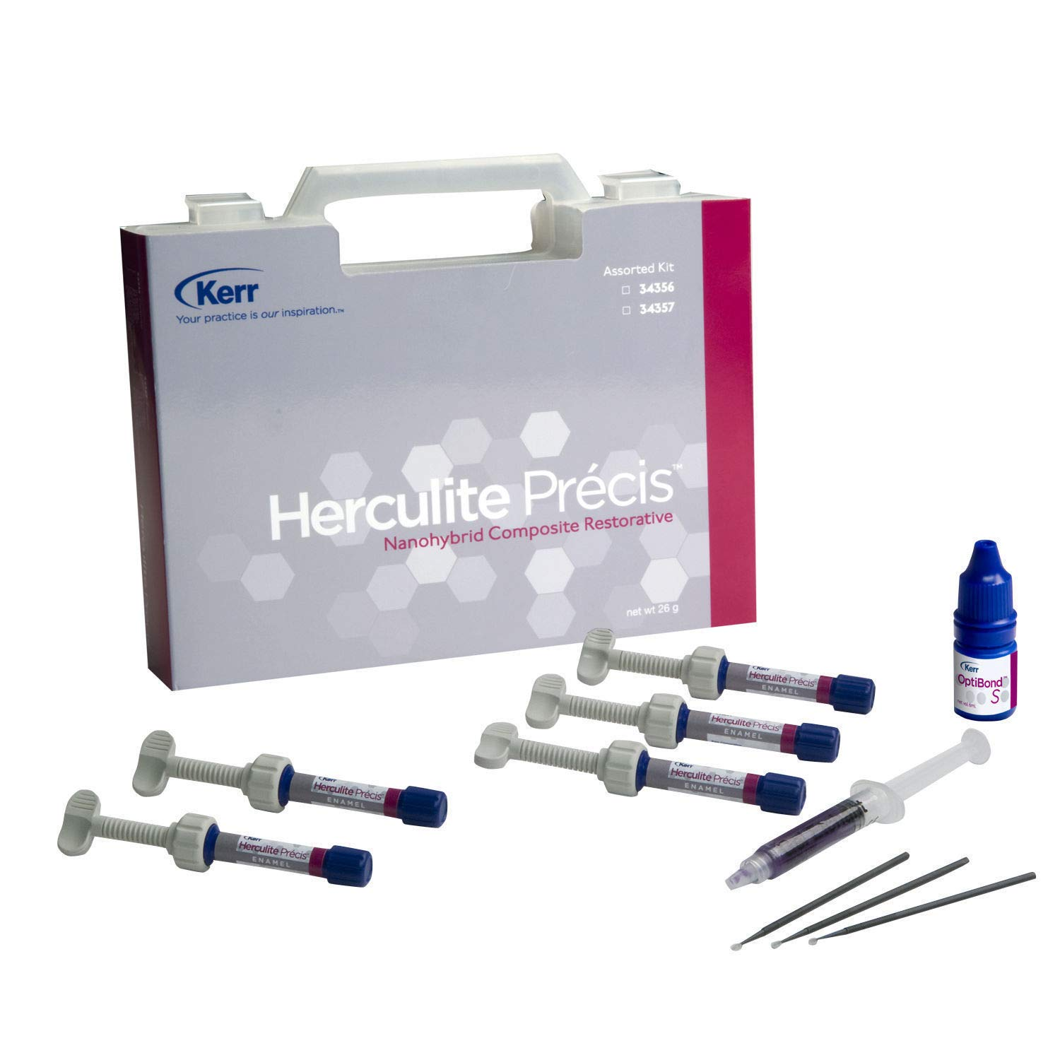 5 Syringes+ 1 Optibond S+ 2 Gel Kerr Herculite Precis Composite Restorative Kit