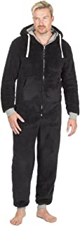 ONEZEE Mens All in One Snuggle Fleece Hooded Jumpsuit with Pockets