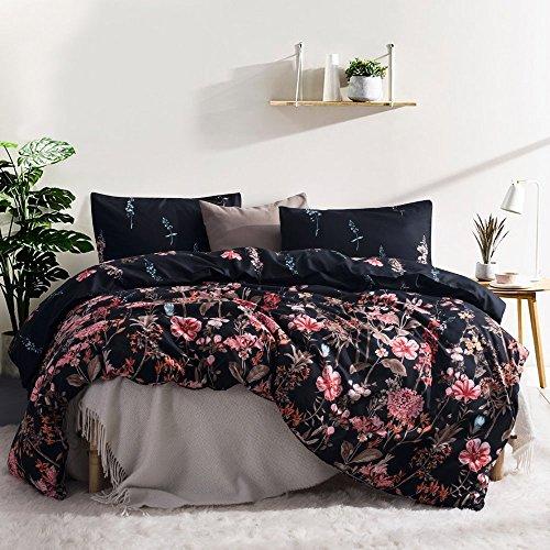 Leadtimes Kids Flower Duvet Cover Set, Girls Floral Leaf Black Bedding Set with Soft Lightweight Microfiber 1 Duvet Cover and 1 Pillow Sham (Twin, Style8)