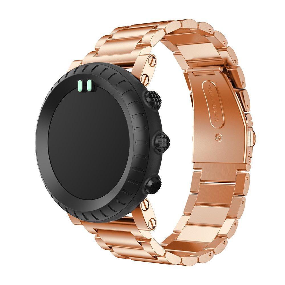 Suuntoコア腕時計のバンド、ユニバーサルステンレススチールメタル交換調節可能なブレスレットストラップwith Safety Claspリストバンドメンズレディース ローズゴールド ローズゴールド B077FP8WPP