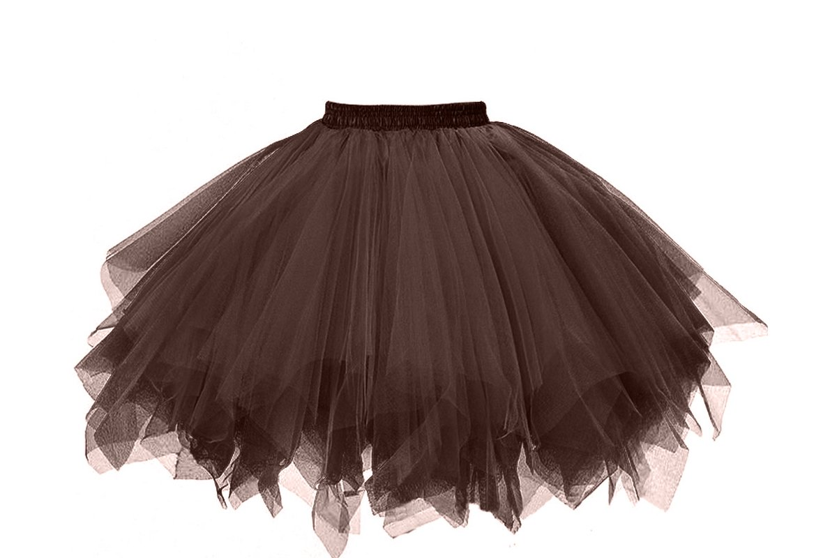 Musever 1950s Vintage Ballet Bubble Skirt Tulle Petticoat Puffy Tutu Chocolate Small/Medium