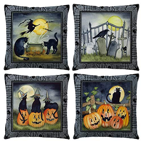Happy Halloween Black Witch (ULOVE LOVE YOURSELF Black Halloween Decor Throw Pillow Covers Pumpkin/Witch/Cat/Crow Element Happy Halloween Decorations Cushion Covers Pillowcases 18 x 18 Inches,Set of)