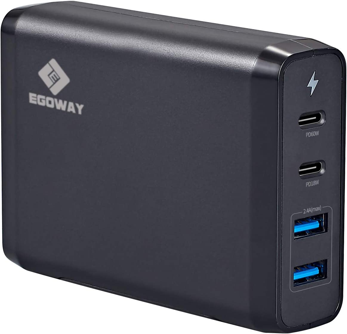 USB C Wall Charger, E EGOWAY 90W 4-Port Charger with 60W & 18W USB C PD Power Delivery Adapter and Dual USB A Ports-12W