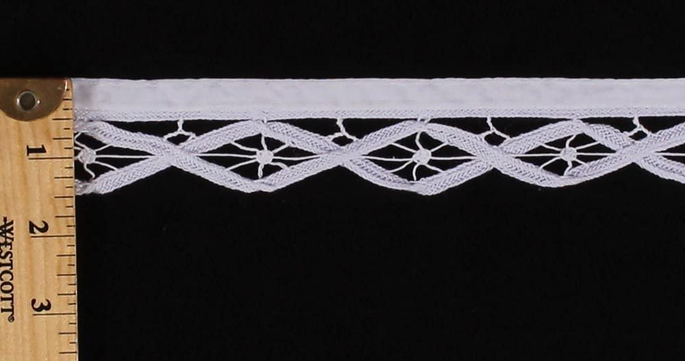 1 Wide M410.09 White Battenberg Lace Renaissance Trim Trimming Edging Border Lace Fabric by The Yard