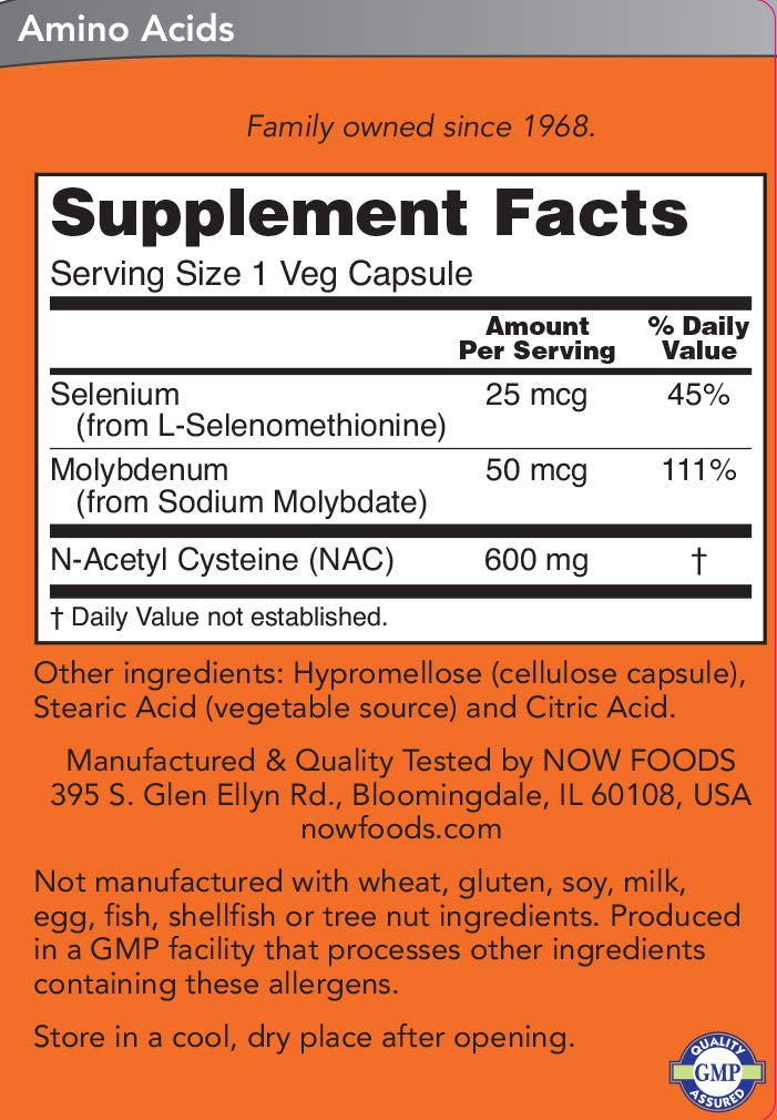 Now NAC 600 mg, 400 Veg Capsules - N-Acetyl-Cysteine Enhanced with Selenium & Molybdenum by NOW Foods (Image #3)