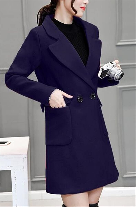 Women's Fashion Solid Slim Fit Outerwear Long Jacket Wool Coat