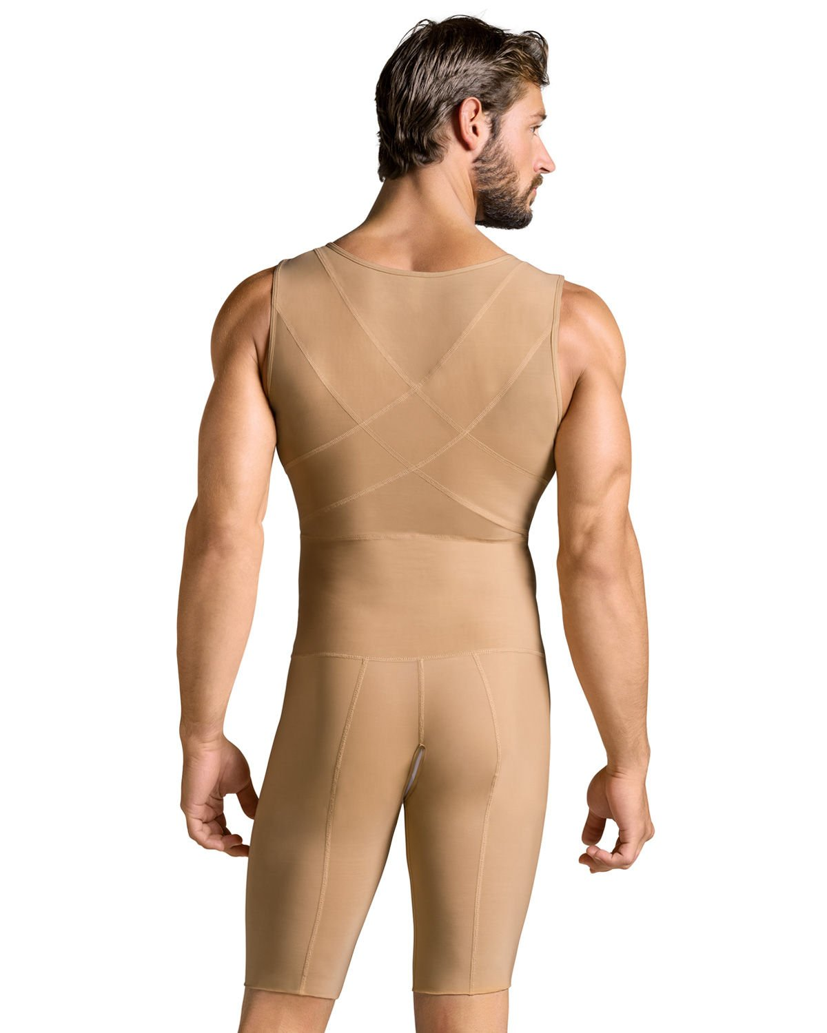 Leo Mens Post-Surgical and Slimming Firm Compression Bodysuit Shaper,Beige,Medium