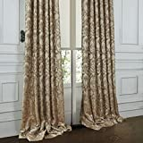 "IYUEGO Luxury European Style Jacquard Beige Silky Fabric Grommet Top Lining Blackout Curtains Drapes With Multi Size Custom 100"" W x 108"" L (One Panel)"