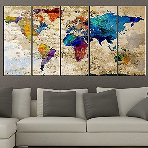 TANDA Extra Large Canvas Colorful World Map on Old Wall Background 5 Panel Watercolor Large Wall Art 80 Inch Total by Tanda