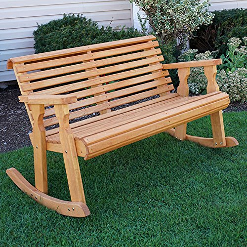 Amish Heavy Duty 800 Lb Roll Back Pressure Treated Double Rocker Cedar Stain