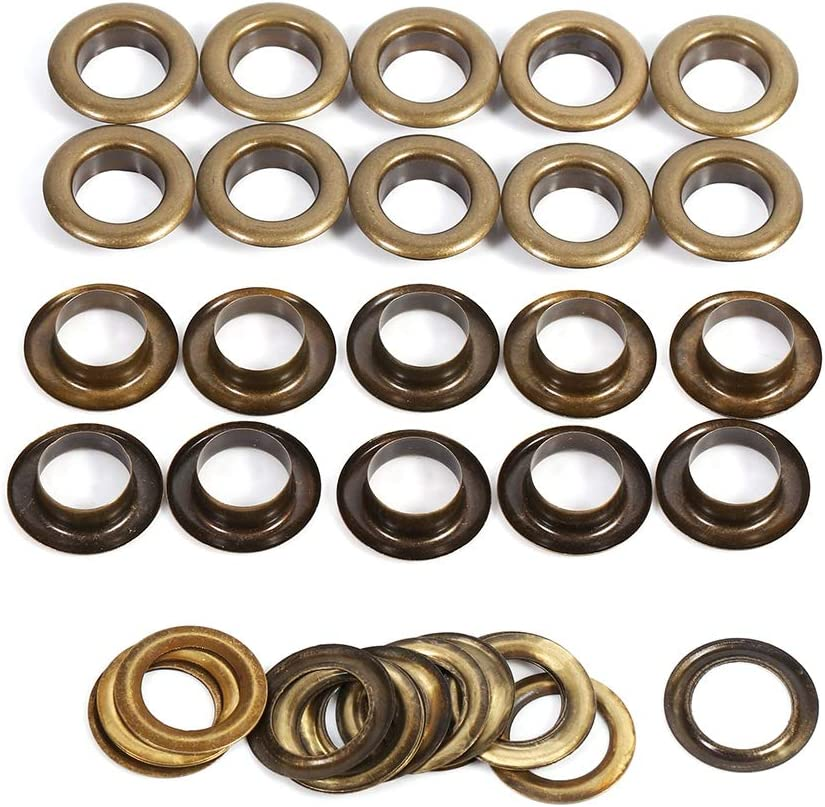 100Pcs Round Eyelets Replacement for DIY Craft Decoration Accessories Black Golden 10mm 100sets Grommets Eyelets