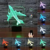 3D Illusion Airplane Shaped Soft Multi-colored Change Remote Control LED Table Desk Night Light for Home Bedroom Decorations USB Powered or Battery Powered (Airplane)