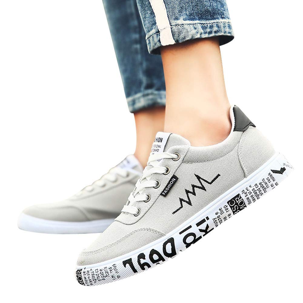 Gyoume Teen School Canvas Shoes Men Outdoor Shoes Walking Lace Up Shoes Flat Wedge Running Sports Shoes