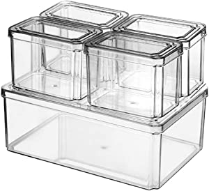 cufuller Food Storage Containers with Lids Refrigerator Organizer Plastic Freezer Containers for Fish, Meat, Fruits and Vegetables Kitchen Pantry