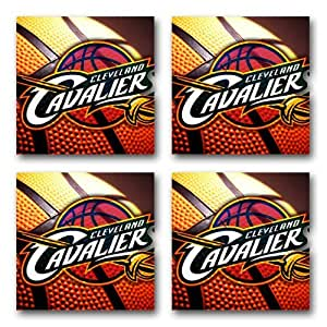 Cavaliers Basketball Rubber Square Coaster set (4 pack) Great Gift Idea Cleveland