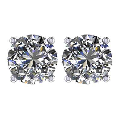 fb4d24de6 NANA Silver & Surgical Stainless Steel CZ Stud Earrings 3.5mm (0.30cttw)  White