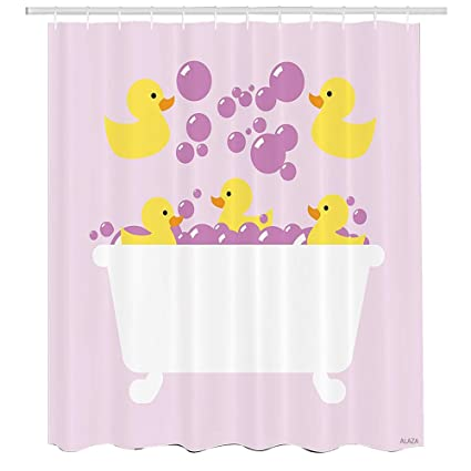 Duckies Shower CurtainAbstract Floating Yellow Rubber Ducks With Purple Bubbles In A Tub Design