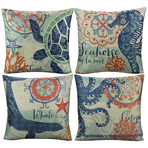 All Smiles Nautical Decorative Throw Pillow Covers for Outdoor Beach Vintage Coastal Cushion Mediterranean Style…