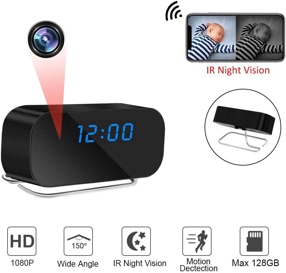 LXMIMI Cámara Oculta WiFi, Cámara Espía de Visión Nocturna por Infrarrojos, Mini Cámara de Reloj de Ángulo Amplio de 150° Diseño de Detección de Movimiento con Pantalla LED para Uso Doméstico