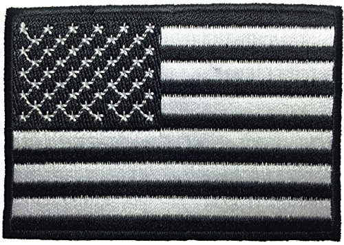 American USA Flag Applique Embroidered Patch Sew Iron on Military Uniform Emblem Black & White by Ranger Return (RR-IRON-USAF-NBOR-BKWH)