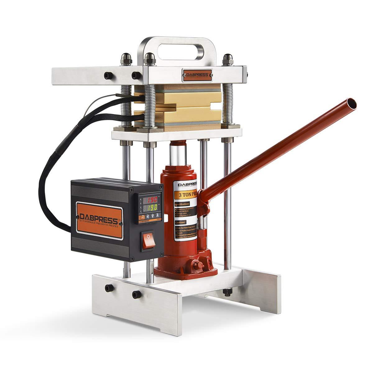 3 Ton Hydraulic Jack Heat Press - dp-bj3t33-3x3 Inch Anodized Heat Press Plates - 500 Watts - Dual Heating Machine - Accurate Temp Detected by Dabpress