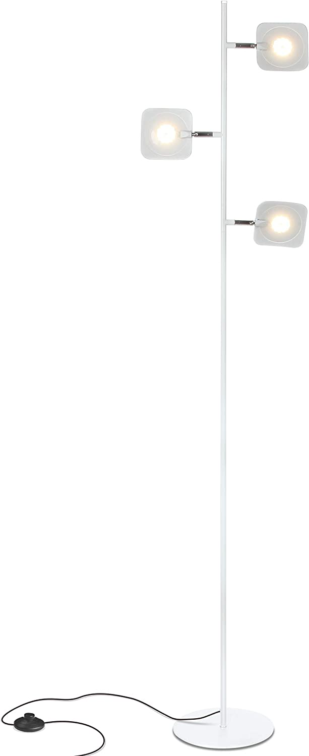 Brightech Tree Spotlight LED Floor Lamp - Very Bright Reading, Craft and Makeup 3 Light Standing Pole - Modern Dimmable & Adjustable Panels - Corner Lamp - White