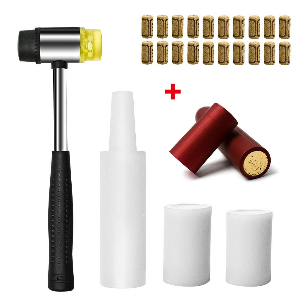4 Pcs Hand Corker Set, For Standard Wine, Belgian Beer, and Synthetic Plastic Corks, Free gift 20Pcs Wine Cork and 20Pcs Red Pvc Heat Shrink Caps (Hand Corker Set) by aipasi tech