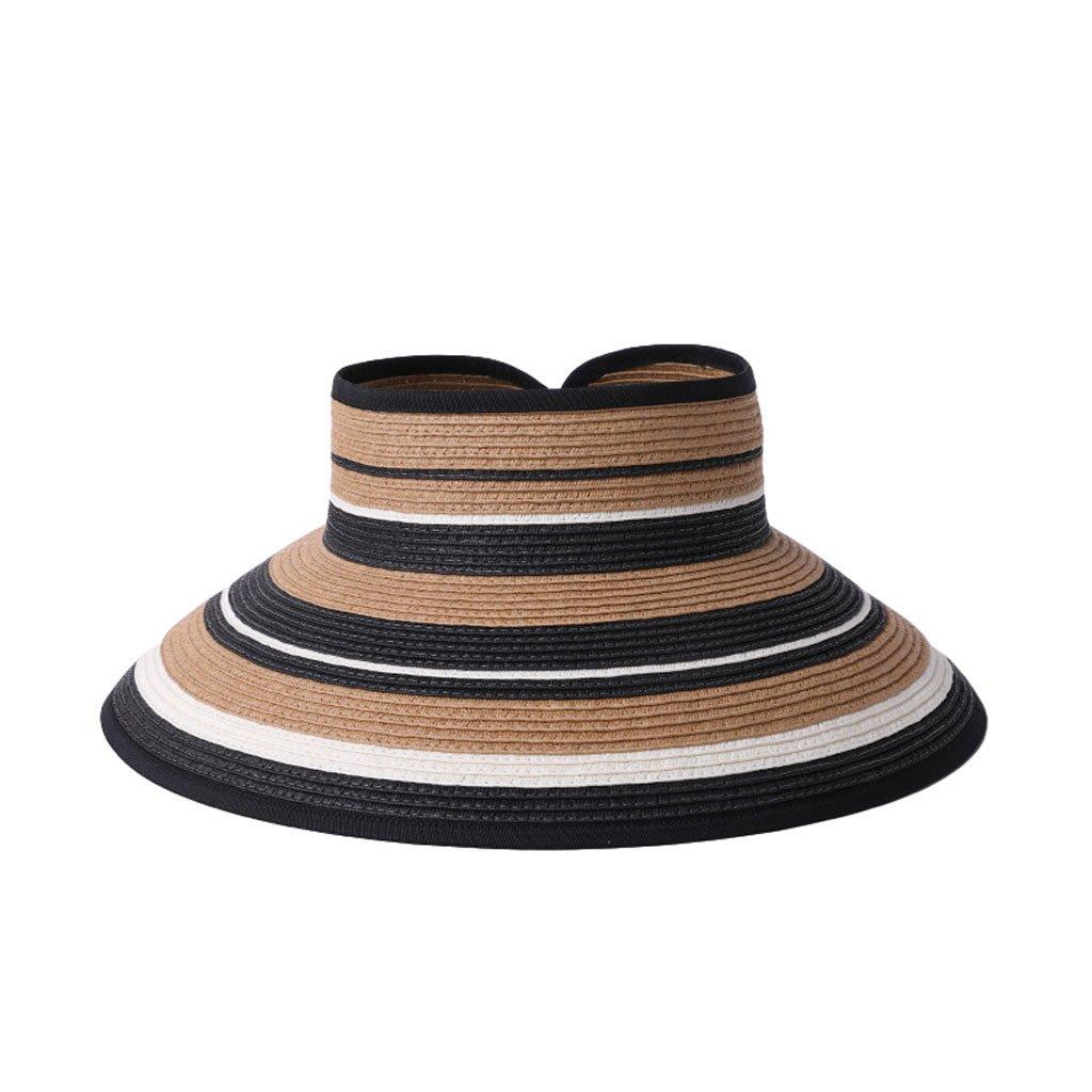 a74b16e214c GYB Women s hats summer sun hat tide hat travel outdoor sun hat seaside  empty top hat foldable straw hat (Color   A)  Amazon.co.uk  Sports    Outdoors