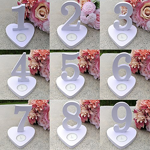 bromrefulgenc Table Numbers,Table Number Sign for Wedding Party Anniversary Decoration,Number 1-10 Heart Shape Wooden Table Cards Sign Banquet Wedding Party Ornaments