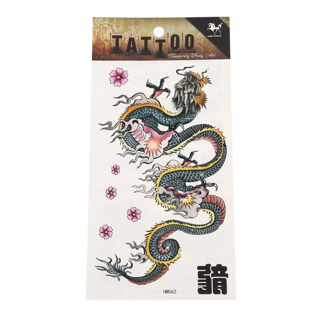 Chic-Net Tatuaje adhesivo con diseño de dragón chino, flores ...