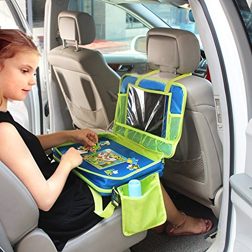 Gelible Kids Car Seat Travel Tray Toddler Snack Play Trays With Removable Mesh Pockets Lap Organizer