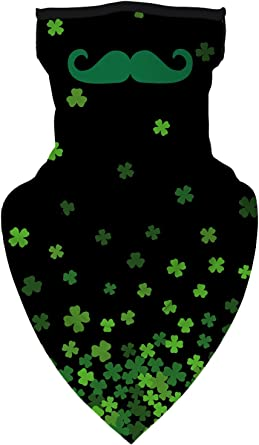 PatrickS Day Four-Leaf Clover Flannel Scarf Warm Neck Windproof Scarves For Women And Girls Black St