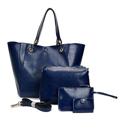 c351cd272dc4 Amazon.com  Handbag Sets for Women Large Purse Tote Satchel Top Handle  Shoulder Bags 4pcs (Blue)  Shoes