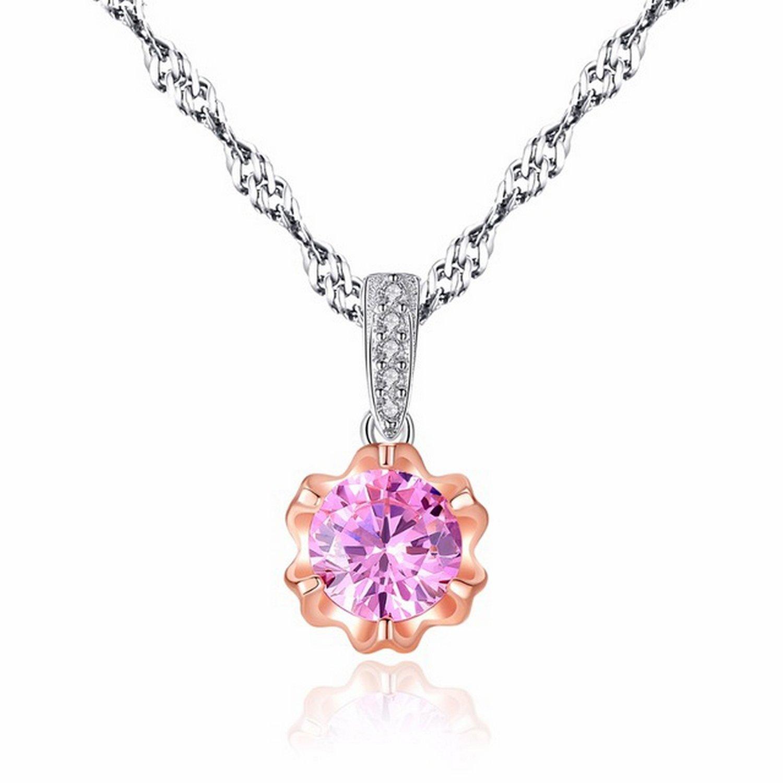 MMC Womens Necklaces Pendants Classic Pink Zircon Stone Silver Jewelry