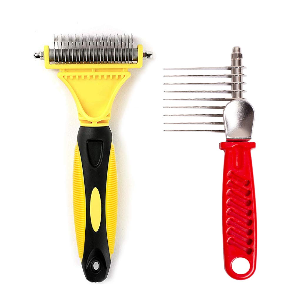 LOYCREW Pet Grooming Tools Value Bundle - Dog Undercoat Rake & Demat Comb for Long & Medium Hair Dog and Cat(Yellow and Red)