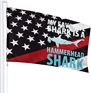 Thin Red Line USA Flag My Favorite Shark is A Hammerhead Shark Flag 3X5 Fit Durable for Patio Yard Garden Lawn Cute Funny Individuality Home Dorm Room Outdoor Decor FWelcome Sign for Festival