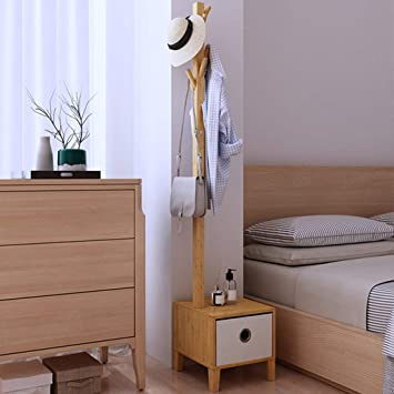 BAI Perchas de madera para el hogar, colgadores de pared, bambú con caja de almacenamiento Perchas